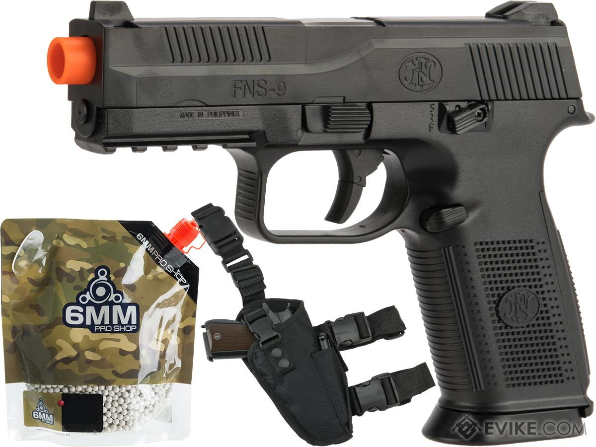 FN Herstal FNS-9 Airsoft Spring Pistol by CyberGun (Color: Black / Add 5000 BBs & Holster)