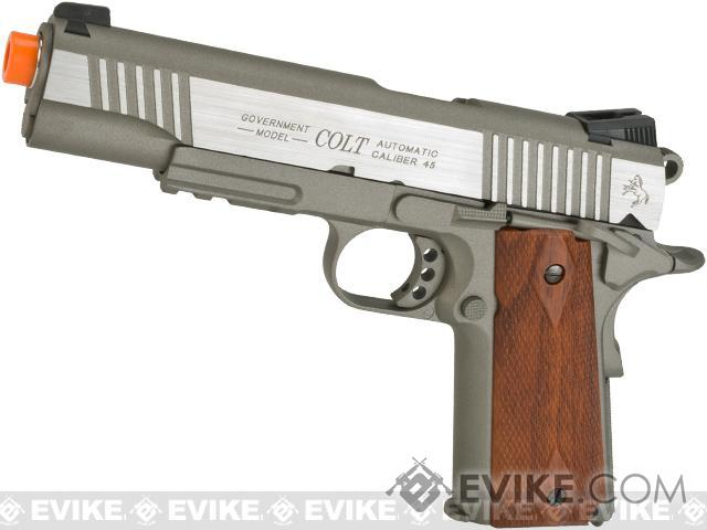 Colt 1911 Rail Gun Full Metal CO2 Powered Blowback Airsoft Pistol by KWC (Color: Stainless)