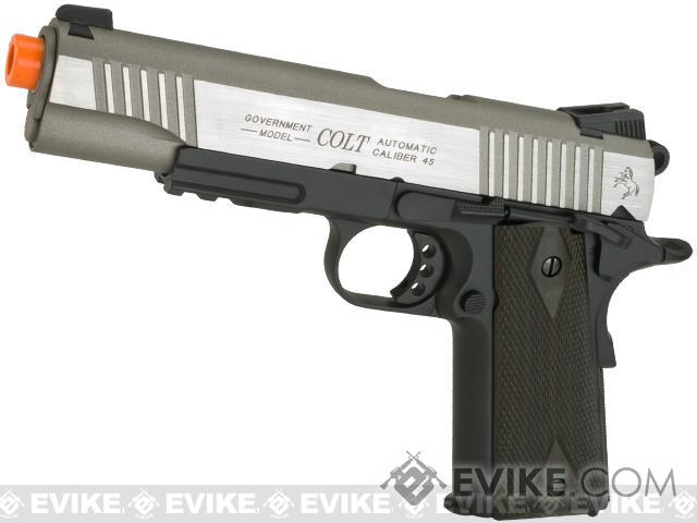 Colt 1911 Rail Gun Full Metal CO2 Powered Blowback Airsoft Pistol by KWC (Color: Two-Tone)