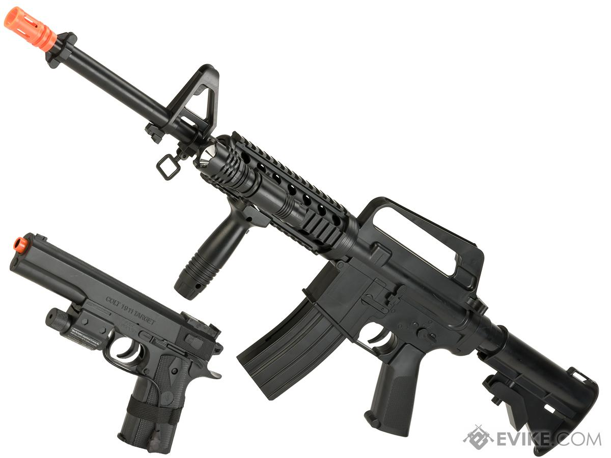 Colt Licensed M4A1 RIS and 1911 Spring Powered On Duty Kit (Color: Black with Lasers)