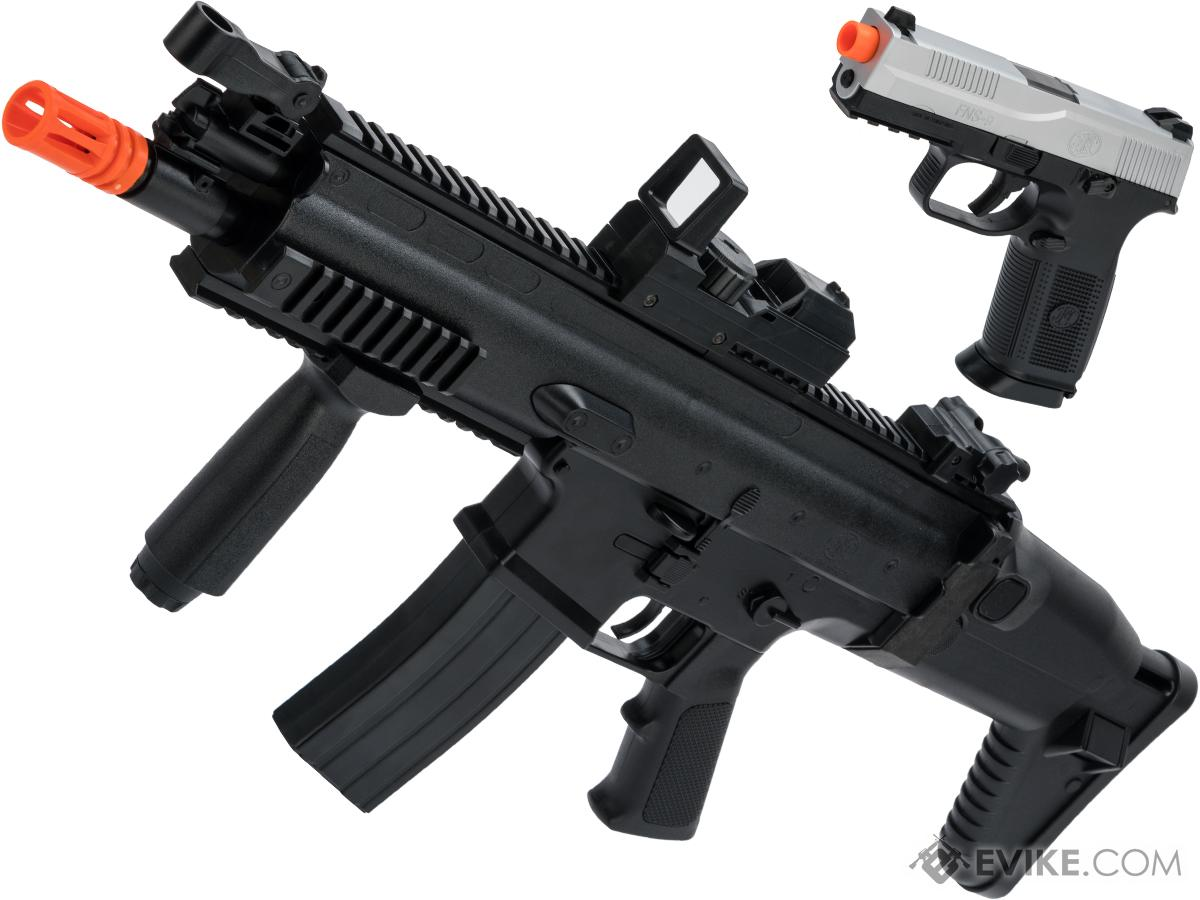 FN Herstal Licensed SCAR-L Airsoft AEG and FNS-9 Pistol Starter KIt Kit by Cybergun (Model: Black)