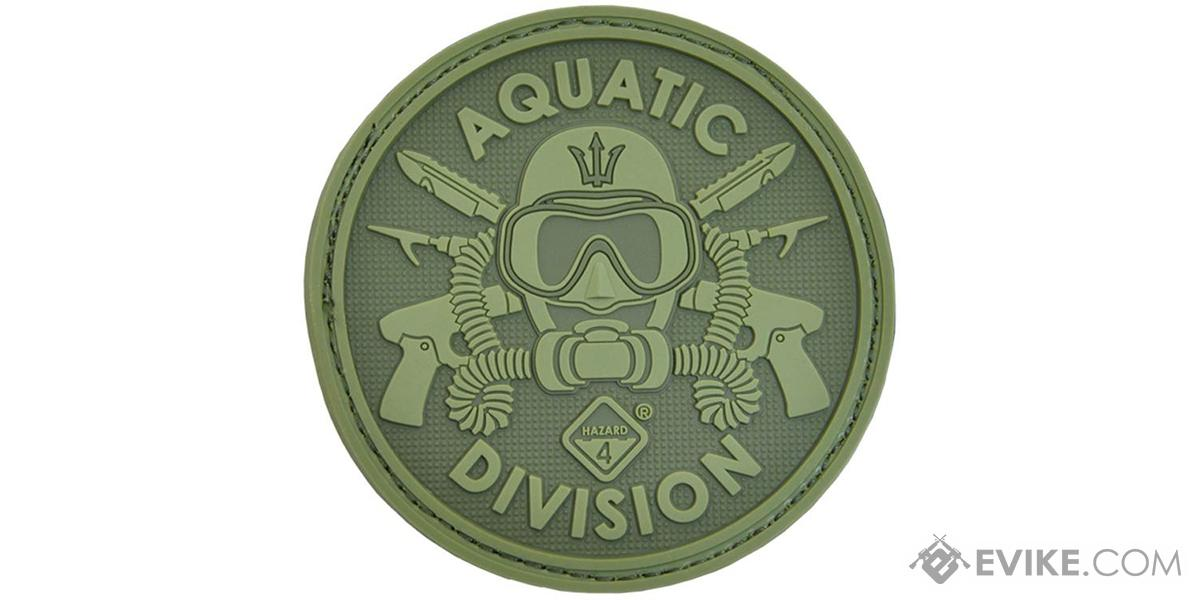 Hazard 4 Aquatic Division Rubber Hook and Loop Patch (Color: OD Green)