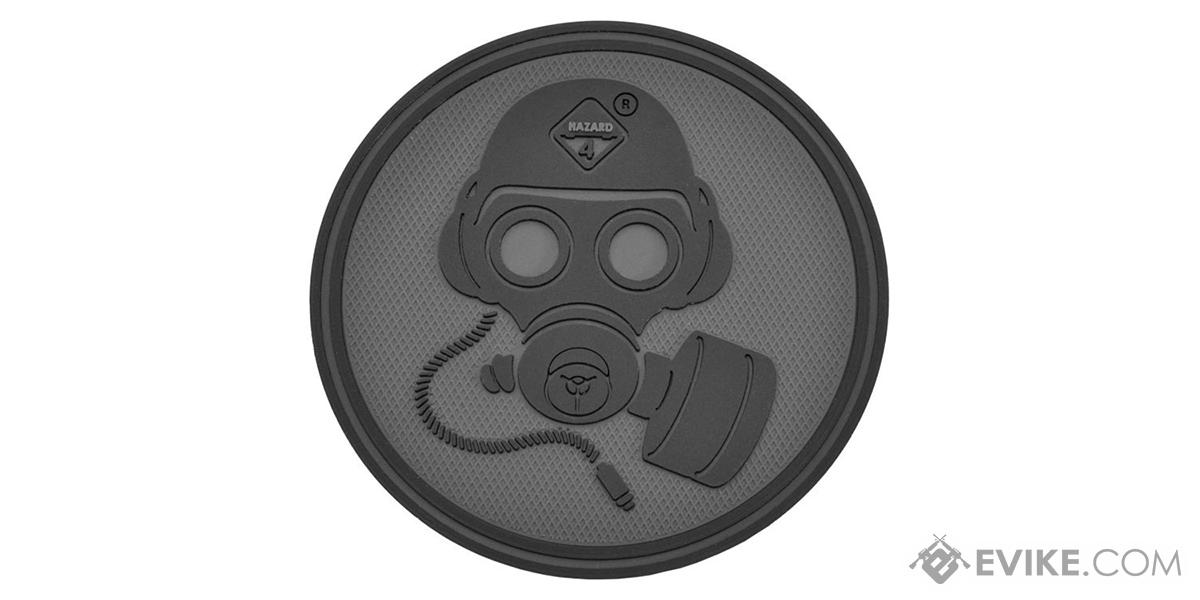 Hazard 4 Special Forces Gas Mask Rubber Hook and Loop Patch (Color: Black)