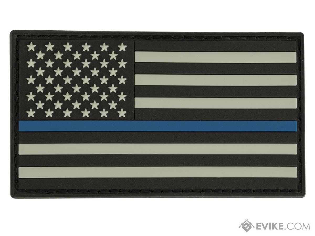 Glow in the Dark PVC Thin Blue Line American Flag Patch