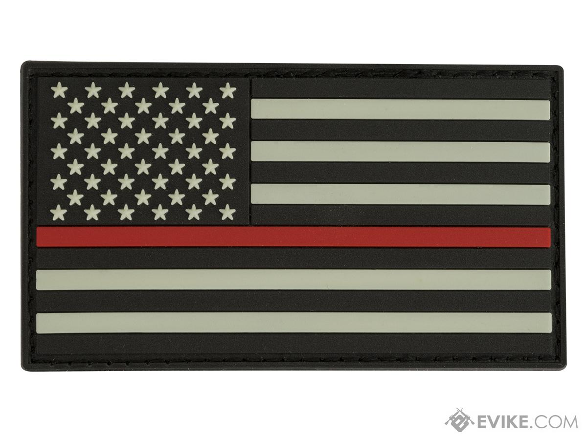 Glow in the Dark PVC Thin Red Line American Flag Patch