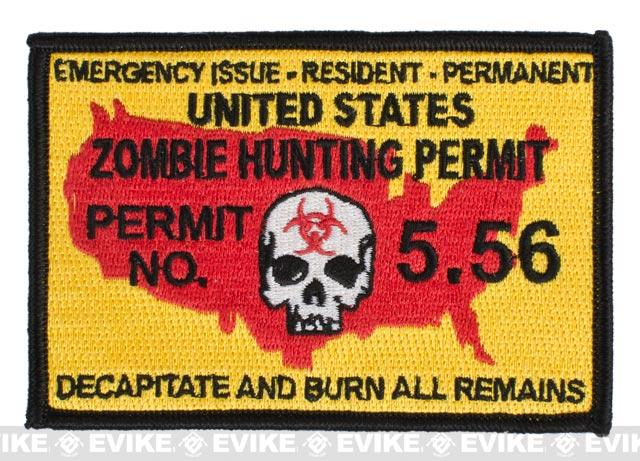 Pantel Tactical Zombie Hunting Permit IFF Hook and Loop Patch