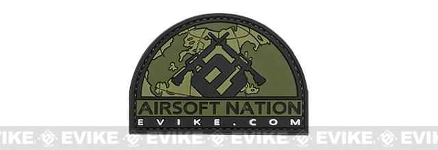 Evike.com Airsoft Nation II PVC Morale Patch (Color: OD Green)