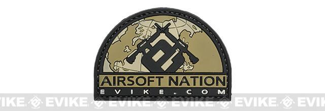 Evike.com Airsoft Nation II PVC Morale Patch (Color: Tan)