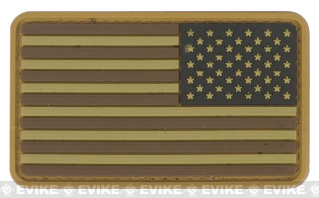 US Flag PVC Hook and Loop Rubber Patch (Color: Reverse / Brown and Tan)