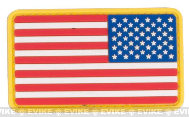 US Flag PVC Hook and Loop Rubber Patch - Reverse / Red White & Blue