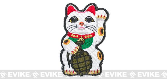 ORCA Industries Maneki Neko Lucky Cat Grenade Embroidered Hook and Loop Morale Patch