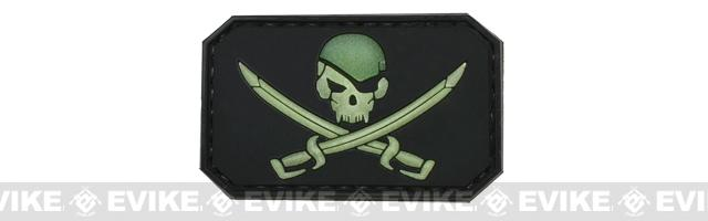 Skull and Swords PVC IFF Hook and Loop Patch -  Glow / Black