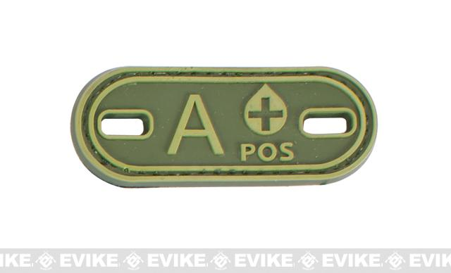 Matrix PVC Oval Blood Type Hook and Loop Patch - A POS / OD Green