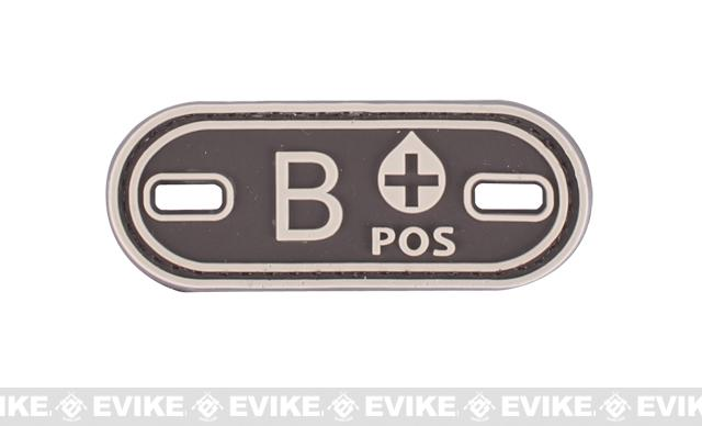 Matrix PVC Oval Blood Type Hook and Loop Patch - B POS / Brown
