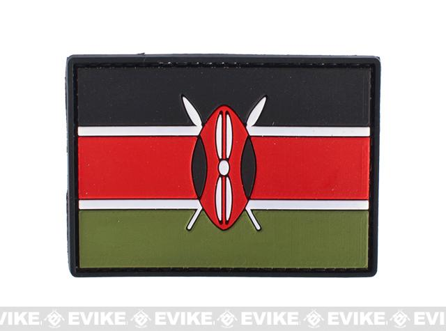 PVC Hook and Loop International Flag Patch (Flag: Kenya)