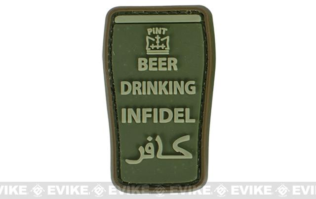 Very Tactical Beer Drinking Infidel PVC Hook and Loop Patch (Color: OD Green)