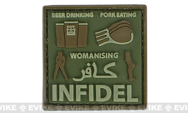 Very Tactical Beer Drinking, Pork Eating, Womanizing Infidel PVC Hook and Loop Patch (Color: OD Green)