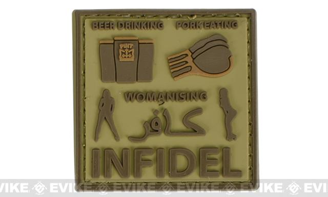 Very Tactical Beer Drinking, Pork Eating, Womanizing Infidel PVC Hook and Loop Patch (Color: Tan)
