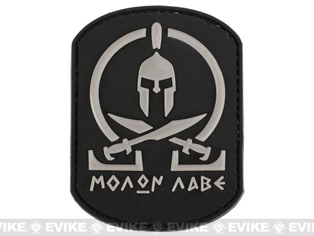 Evike.com Molon Labe PVC Rubber Hook and Loop IFF Patch - Black / Grey