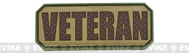 Veteran PVC Hook and Loop Morale Patch (Color: Tan / Dark Brown)