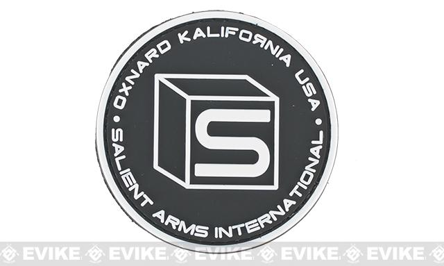 Salient Arms International Logo PVC Hook and Loop Morale Patch - Black / White