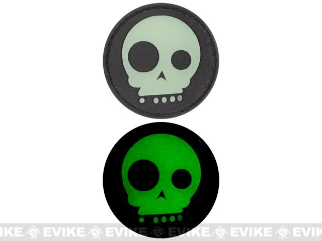 Glow in the Dark PVC Hook and Loop Patch - Funny Skull