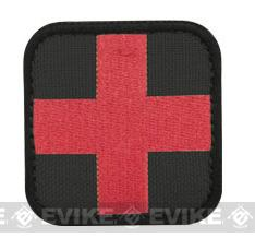 Condor Embroidered Medic Hook & Loop Patch (Color: Black / Red)