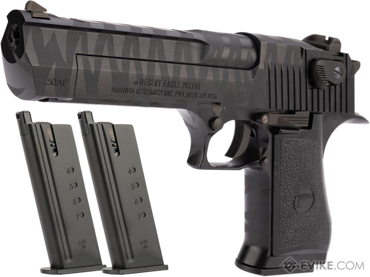 WE-Tech Desert Eagle .50 AE Full Metal Gas Blowback Airsoft Pistol by Cybergun (Color: Black Tigerstripe / Reload Package)
