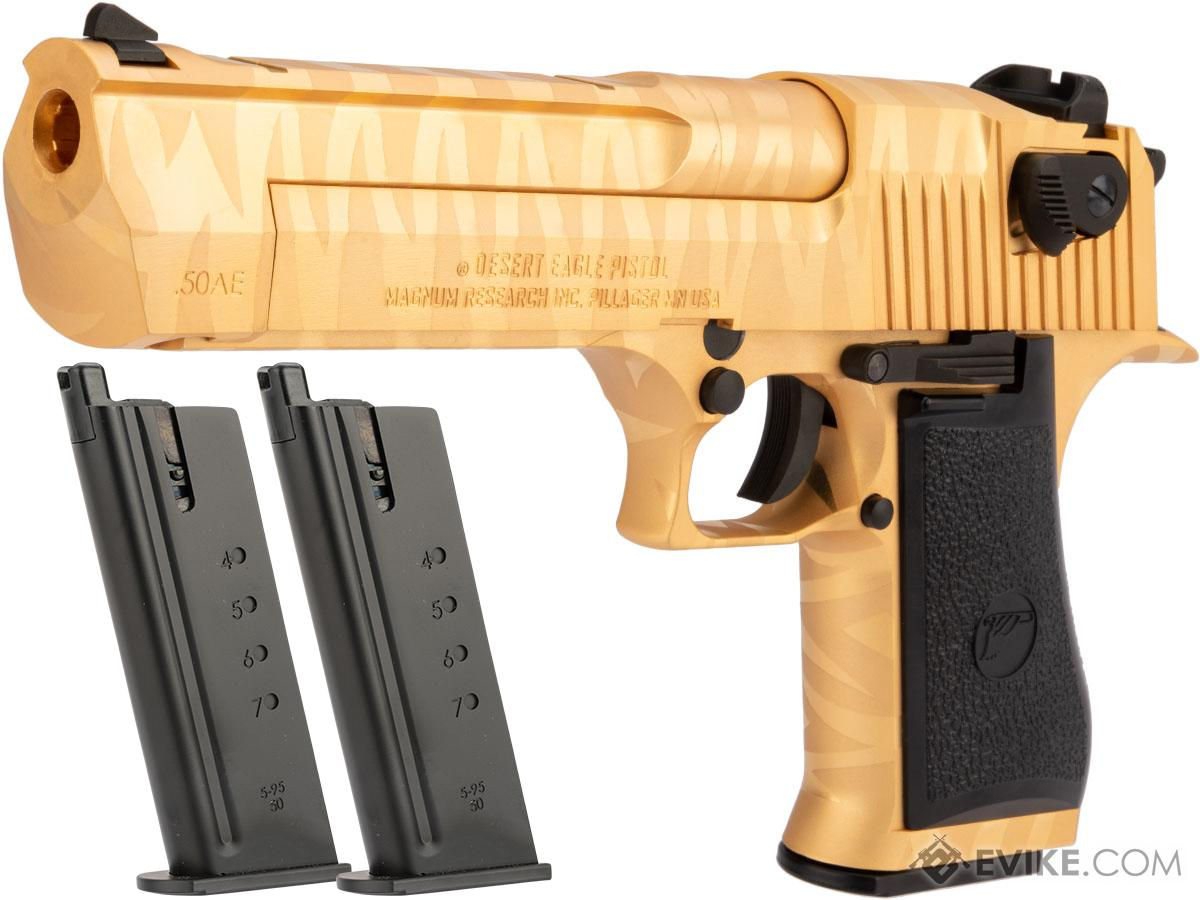 WE-Tech Desert Eagle .50 AE Full Metal Gas Blowback Airsoft Pistol by Cybergun (Color: Gold Tigerstripe / Reload Package)