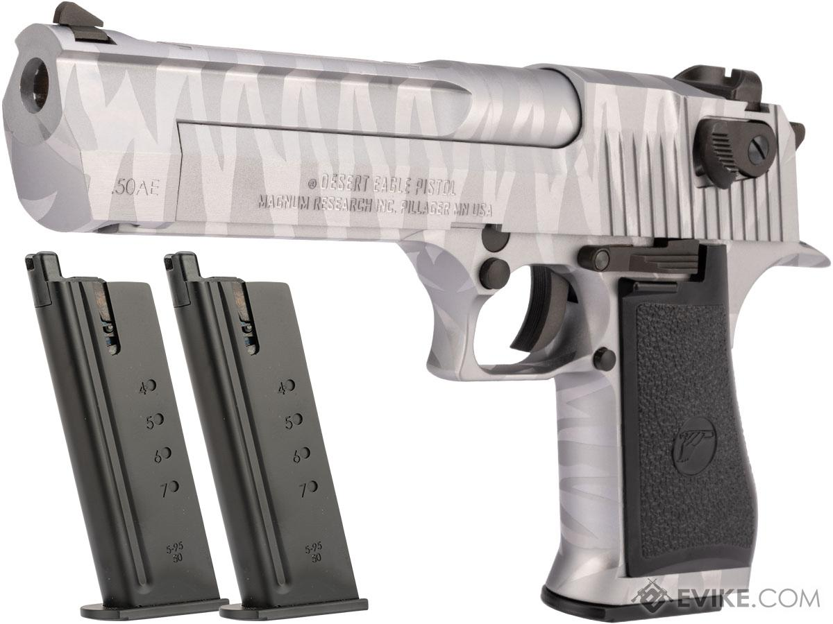 WE-Tech Desert Eagle .50 AE Full Metal Gas Blowback Airsoft Pistol by Cybergun (Color: Silver Tigerstripe / Reload Package)