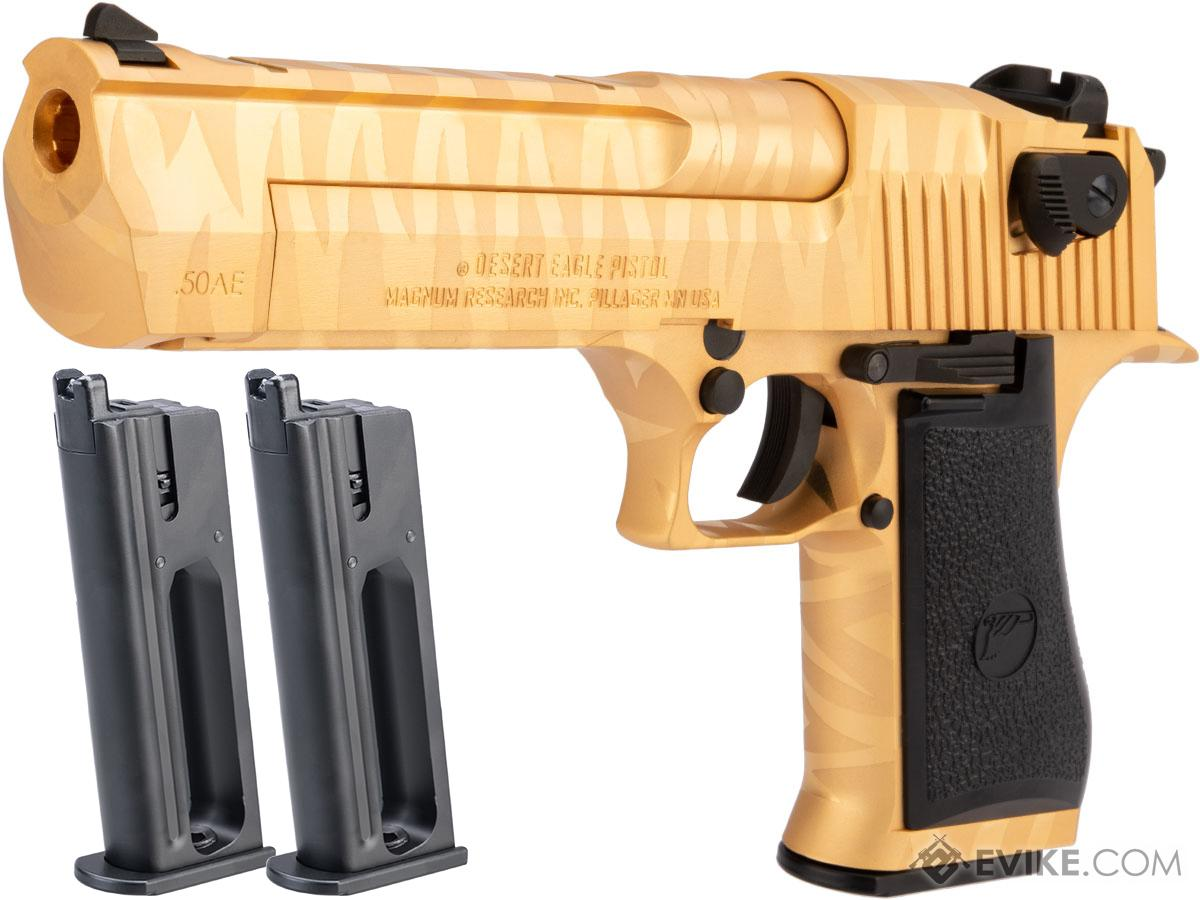 WE-Tech Desert Eagle .50 AE Full Metal Gas Blowback Airsoft Pistol by Cybergun (Color: Gold Tigerstripe / CO2 / Reload Package)