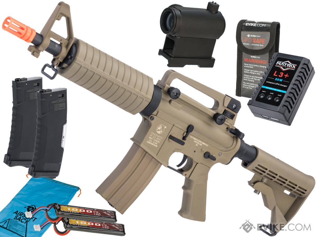 Colt Licensed Sportsline M4 AEG by Cybergun (Model: M4 Commando / Tan / Go Airsoft Package)