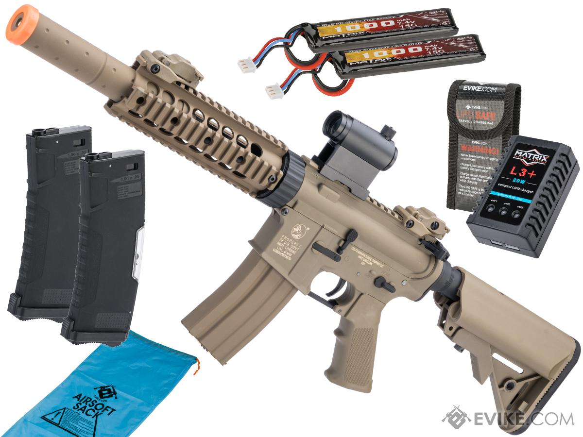 Colt Licensed Sportsline M4 AEG by Cybergun (Model: M4 CQB-R w/ 7 Rail / Tan / Go Airsoft Package)