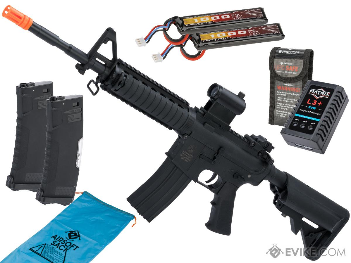 Colt Licensed Sportsline M4 AEG by Cybergun (Model: M4 RIS w/ Two Piece Quadrail / Go Airsoft Package)