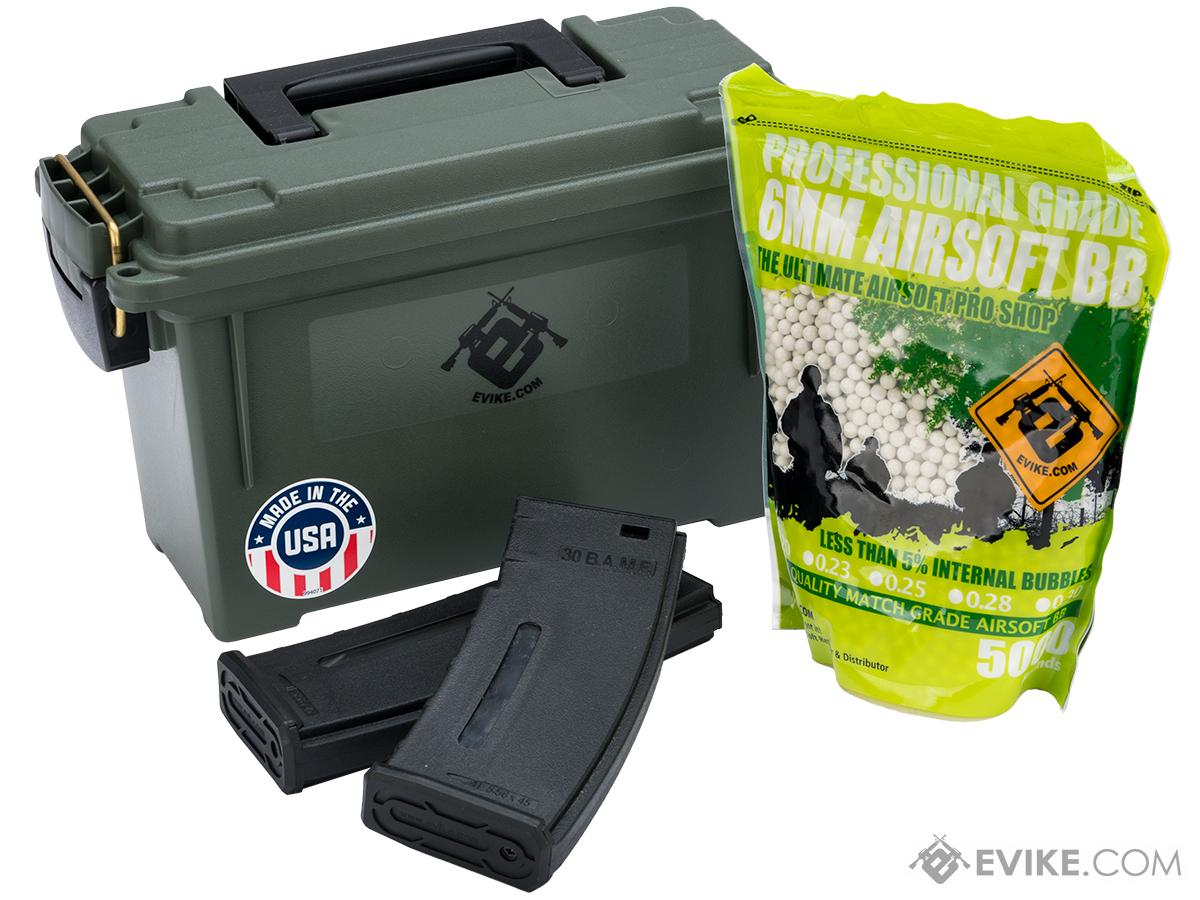 Evike.com Made in USA Molded Polypropylene Stackable Ammo Can by Plano (Size: M4 Essentials Package)