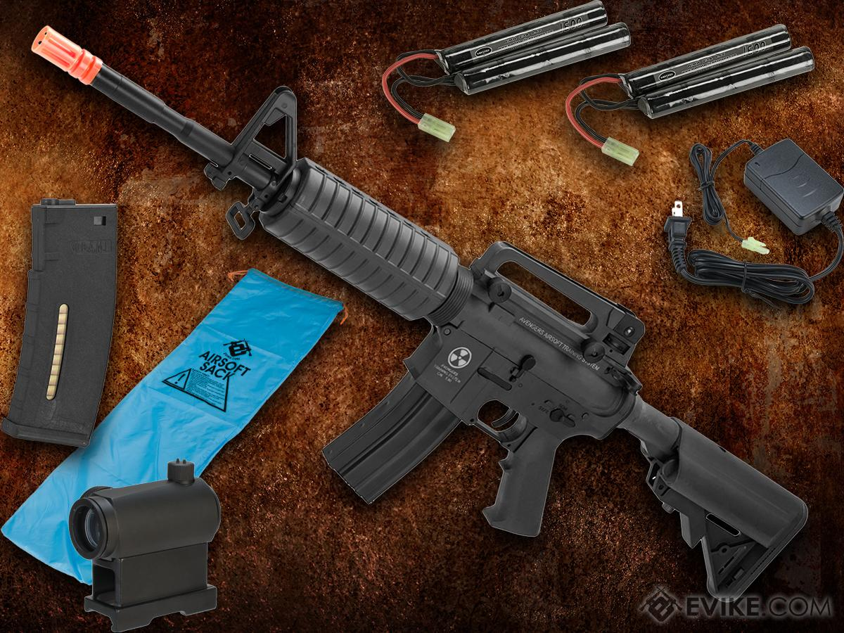 Go Airsoft Starter Package Avengers BioHazard M4 Lipo Ready Airsoft AEG Rifle (Model: Black M4A1)