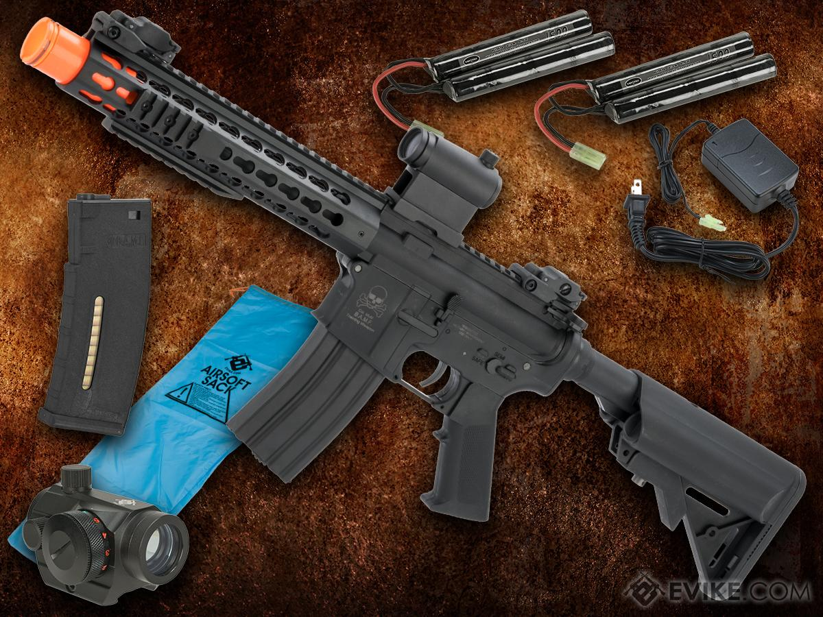 Go Airsoft Starter Package Avengers BAMF M4 LiPo Ready Airsoft AEG Rifle (Model: CQB 10 Keymod / Black)