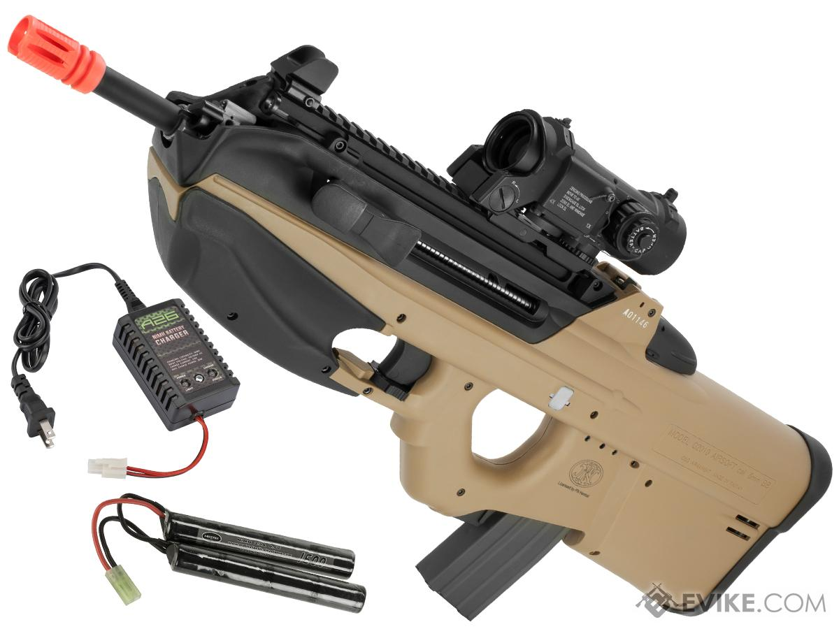 G&G FN Herstal Licensed FN2000 Airsoft AEG Rifle (Package: Tan / Tactical / Add 9.6 Butterfly Battery + Smart Charger)