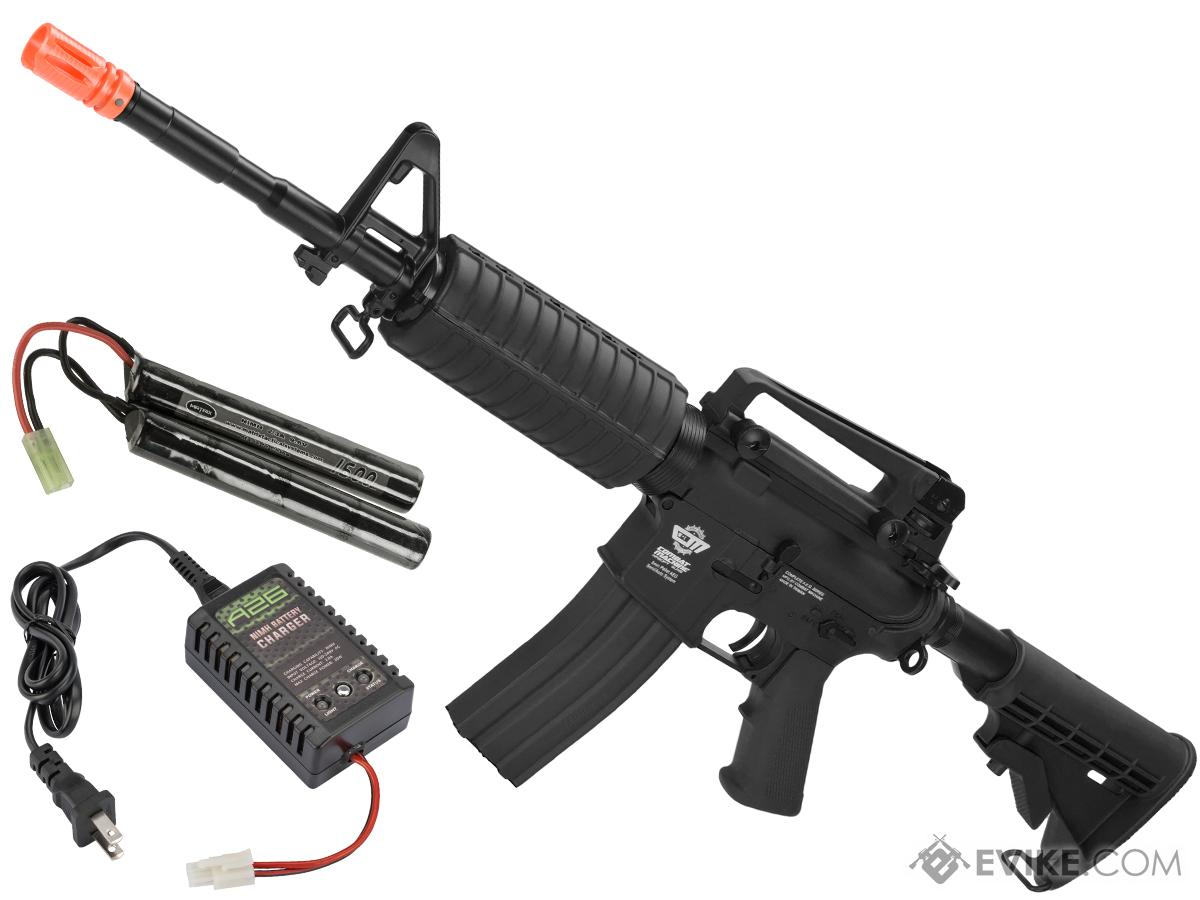 G&G M4 Carbine Combat Machine Airsoft AEG Rifle (Package: Black / Add 9.6 Small Type Battery + Smart Charger)