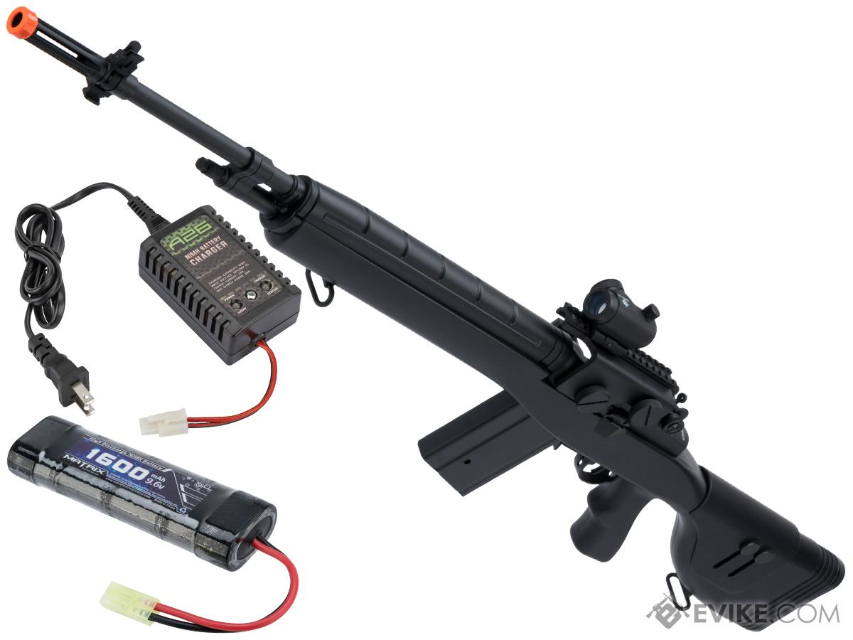 CYMA Sport M14 DMR Airsoft AEG Rifle (Color: Black / 9.6v Battery + Charger)