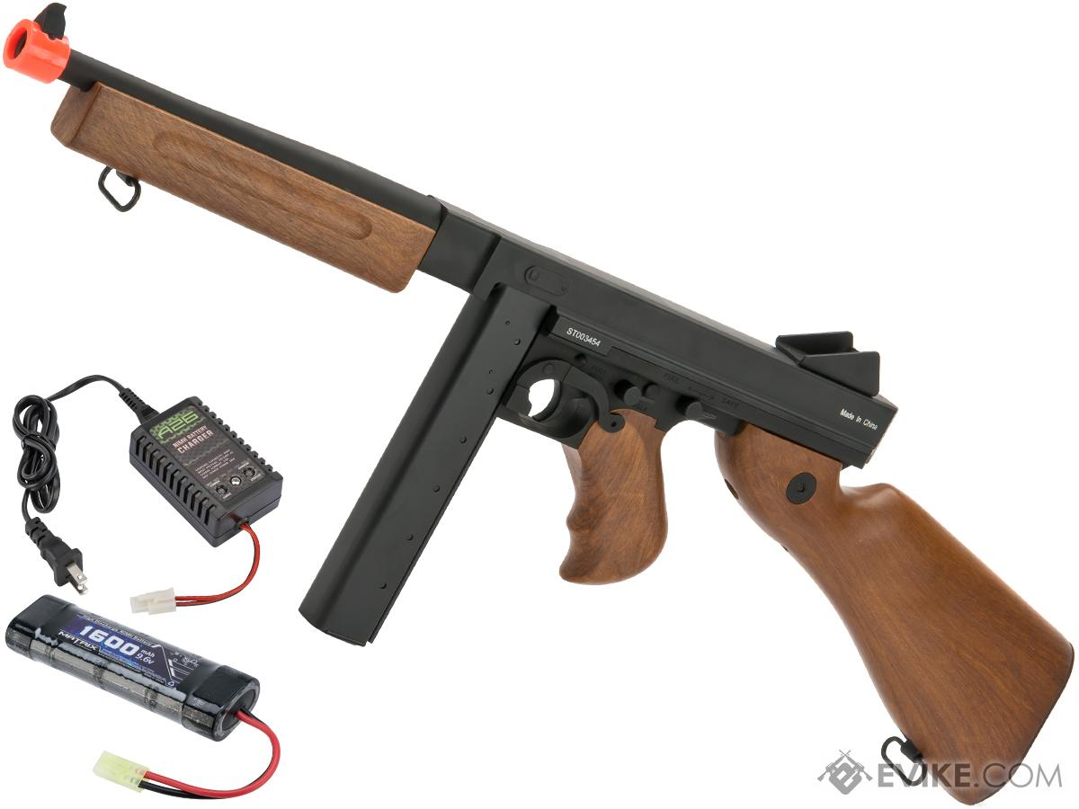 CYMA Sport M1A1 Thompson Submachine Gun Full Metal Gearbox Airsoft AEG (Package: Add 9.6v NiMH Battery + Charger)