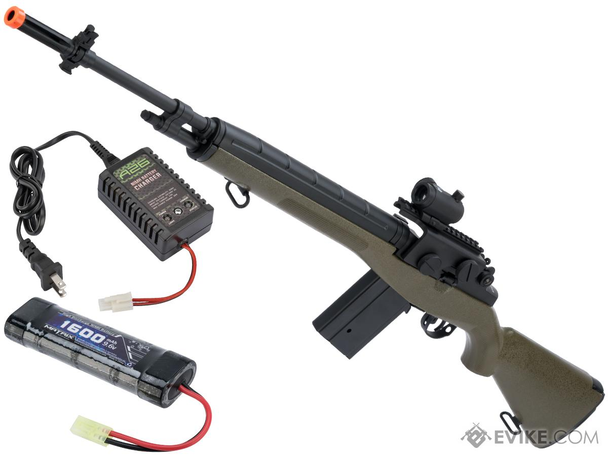 CYMA Sport M14 Airsoft AEG Rifle (Color: OD Green / Red Dot + Mount & 9.6v Battery + Charger)
