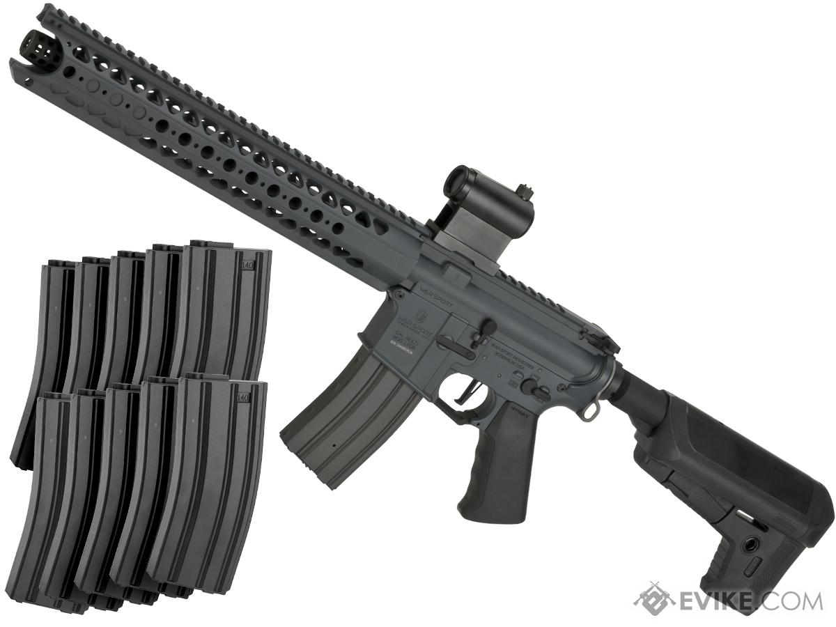 Krytac War Sport Licensed LVOA-S M4 Carbine Airsoft AEG Rifle (Model: 10 Mag Bundle / Combat Grey / 400 FPS)