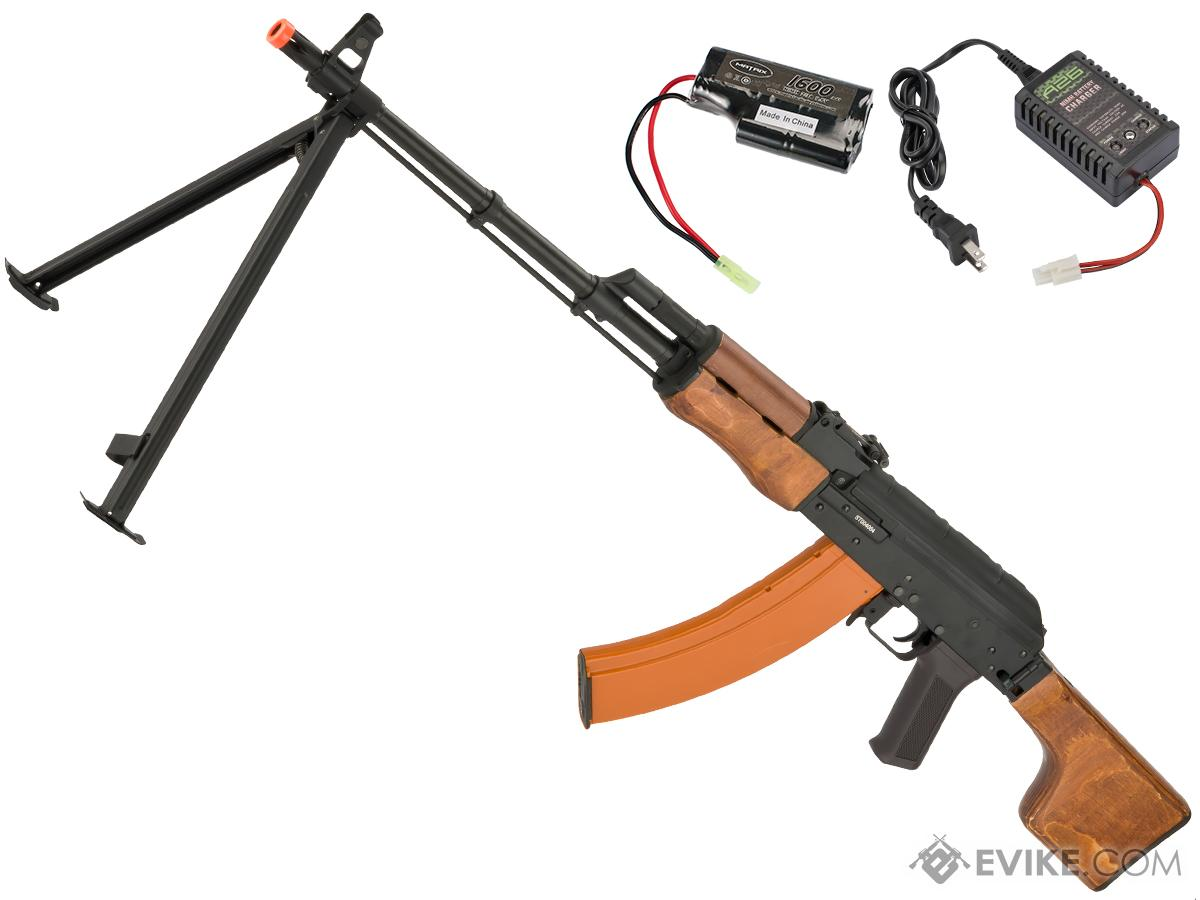 CYMA Standard RPK LMG Airsoft AEG Rifle w/ Steel Bipod and Wood Folding Stock (Package: Add 9.6v NiMH Battery + Charger)