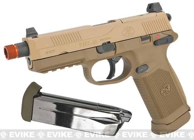 FN Herstal FNX-45 Tactical Airsoft Gas Blowback Pistol by Cybergun (Color: Dark Earth / Add Extra Magazine)