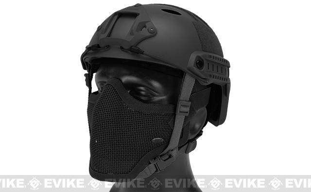 6mmProShop Bump Type Tactical Airsoft Helmet w/ Gen.1 Strike Mask (Type: PJ / Advanced / Black)