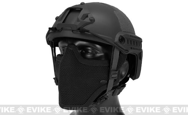 6mmProShop Bump Type Tactical Airsoft Helmet w/ Gen.1 Strike Mask (Type: MICH / Advanced / Black)