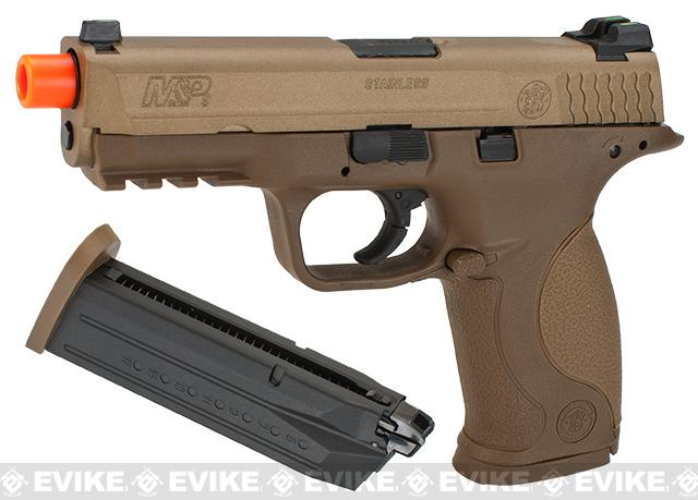Smith & Wesson Licensed M&P 9 Full Size Airsoft GBB Pistol by VFC (Package: Tan / Add Two Extra Magazine)
