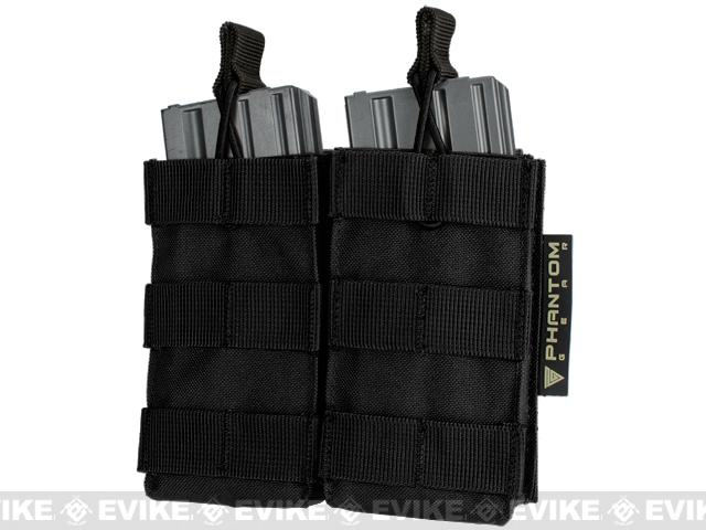 Phantom MOLLE Pouches - Tactical Open Top Dual AR / M4 / M16 Mag Pouch - Black