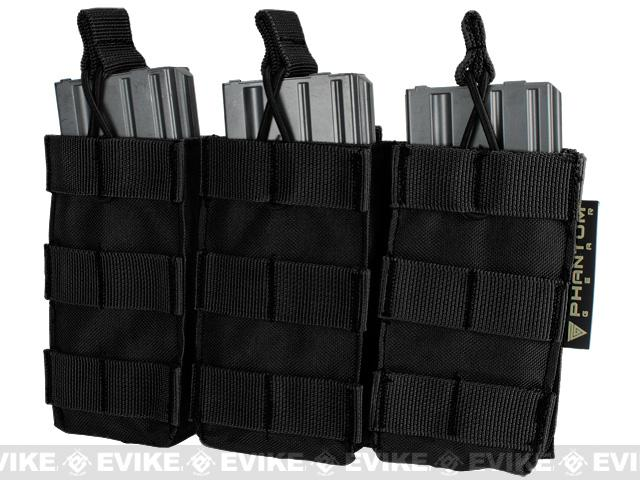 Phantom MOLLE Pouches - Tactical Open Top Triple AR / M4 / M16 Mag Pouch - Black